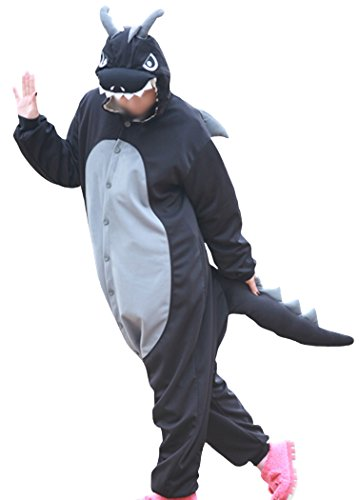 wotogold Herren Tier Drachen Pyjamas Cosplay Kostüme mit Horn Small Schwarz (Erwachsene Kostüme Drachen)