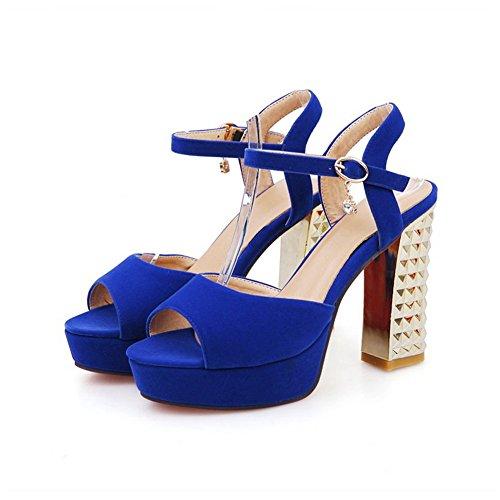 BalaMasa strass, da donna, con fibbie e borchie, da donna, con fibbia in metallo, colore: satinato Blue