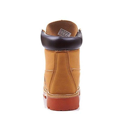 AllhqFashion Damen Niedrig-Spitze Gemischte Farbe Rund Zehe Niedriger Absatz Stiefel Gelb