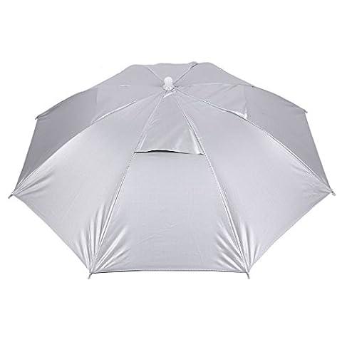 sourcingmap Outdoor Sports Fishing Adjustable Band Folded Rain Sun Umbrella Hat Silver Tone