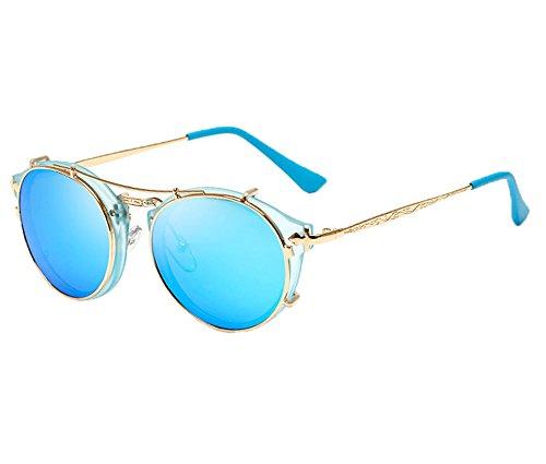 Unisex moda retrò all'aperto ac lente uv400 aviatore occhiali da sole eyewear,blu