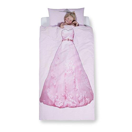 Aminata Kids – Bettwäsche 135x200 cm Kinder Mädchen Prinzessin Ballkleid Baumwolle...