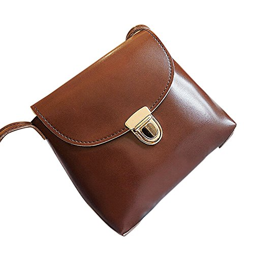 Longra Donna Caratteristica-Oil Moda spina della serratura singola spalla Bag Caffè