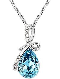 Boolavard 2101401 Pendentif à goutte «amour éternel», larme en cristal autrichien réalisés, grand cristal bleu, chaîne de 45cm