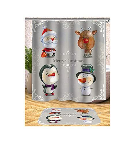 (AMDXD Duschvorhang Pongee Weihnachten Santa Claus Schneemann Muster Vorhang für Badezimmer Stil 1 165x180CM)