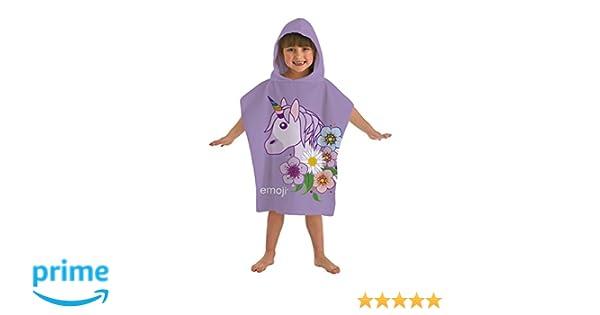 Kids Emoji Licorne Lilas Imprimé Poncho A Capuche Enfants 100/% Coton Serviette De Bain