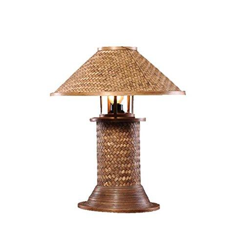ELEGENCE-Z Lampe De Table Sud-Est HôTel Chambre Creative Lampe De Chevet De Haute Qualité Teck Simple Moderne Bambou Tissage Retro Thai Sud-Est Asiatique Style
