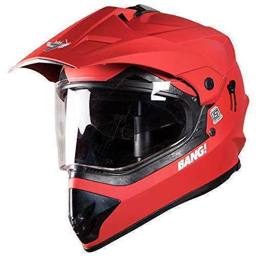 Steelbird SBH-13 7Wings Bang Motocross Helmet in Matt Finish with Plain Visor (Large 600 MM, Matt S. Red)