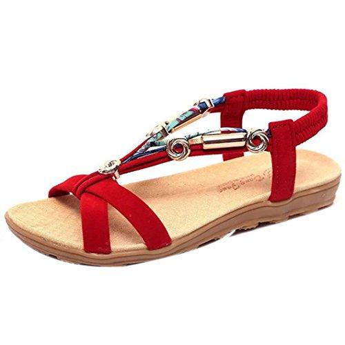 Damen Sandale Mumuj Mädchen Sommer Flache Sandalen Komfortabel Strandschuhe Zehentrenner Peep-Toe Niedrige Ferse Schuhe Sandaletten Römische Sandalen Flip Flops Mokassins 36-42 (40, Rot) (Silber Niedrigen Ferse)