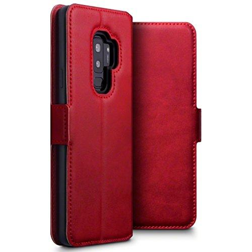 TERRAPIN, Kompatibel mit Samsung Galaxy S9 Plus Hülle, Premium ECHT Leder - Slim Fit - Flip Handyhülle Samsung Galaxy S9 Plus Tasche Schutzhülle - Rot EINWEG