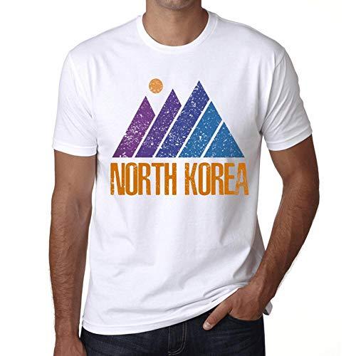 Hombre Camiseta Vintage T-Shirt Gráfico Mountain North Korea Blanco
