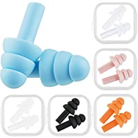 Bememo 6 Pairs Ear plugs Noise Cancelling Reusable Earplugs for Sleeping and Swimming, 6 Assorted Colors (Multicolor A)