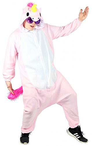 Foxxeo 40302 l Pinkes Einhorn Kostüm für Erwachsene l Größe XS, S, M, L l Damen Unicorn Herren Overall weit pink Pyjama Jumpsuit Tierkostüm Fasching Karneval Party Damenkostüm Herrenkostüm Männer, (Kostüme Motto Film Einfache)
