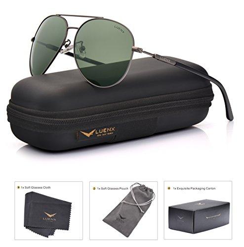 LUENX Sonnenbrille Herren Aviator Polarisiert mit Etui - UV 400 Schutz dunkelgrün Linse Pistolenfarbe metall Rahmen 60mm