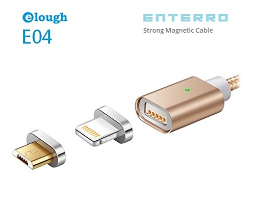 Enterro Magnetic 2 in 1 (iPhone & Android) USB Data Charging Cable - Lighting Fast 2A - Nylon Braided - Strong Magnet (Gold)
