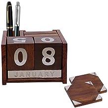 PMK Calendario soporte de madera Coaster cum, 6 coaster Fija con portalápices, Regalo de San Valentín el día especial