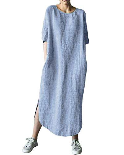 AUDATE Damen Leinen Lose Sommer Maxikleid Große Größe Langes Einfache Tunika Kleid mit Taschen Hellblau DE 50