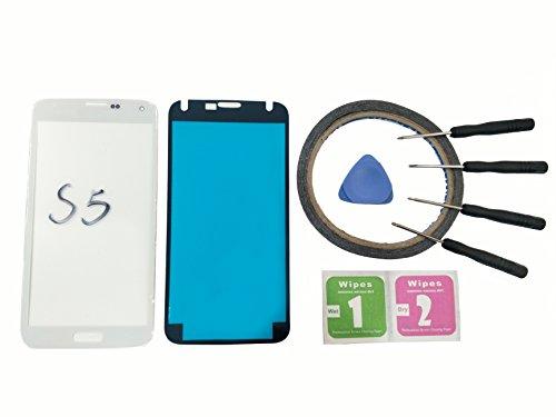 JRLinco Front Glas +Pre cut Sticker Für Samsung Galaxy S5 G900 Glas Bildschirm Display Touch glass screen Ersatzteil ( ohne LCD ,Ohne Cable ) + Werkzeuge (für Samsung Galaxy S5, Weiß) (Lcd Für Weiße S5 Samsung Galaxy)