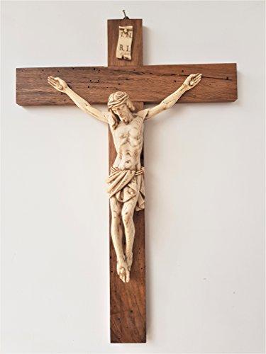 Einzigartig !!! Einwandiges Kruzifix in 73,5 cm antiker Walnuss mit Elfenbeinkorpus