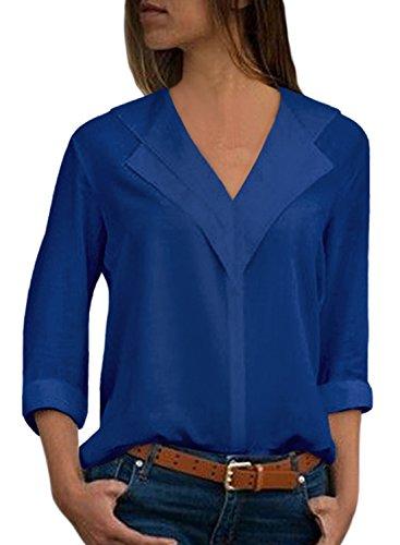 Aleumdr camicetta elegante donna chiffon collo v blusa donna manica lunga tinta unita camicia estiva donna elegante - blu scuro