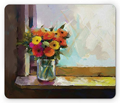 use Pad Mauspad, Colorful Bouquet of Gerberas in a Vase in Front of The Window Painting Style, Standard Size Rectangle Non-Slip Rubber Mousepad, Multicolor ()
