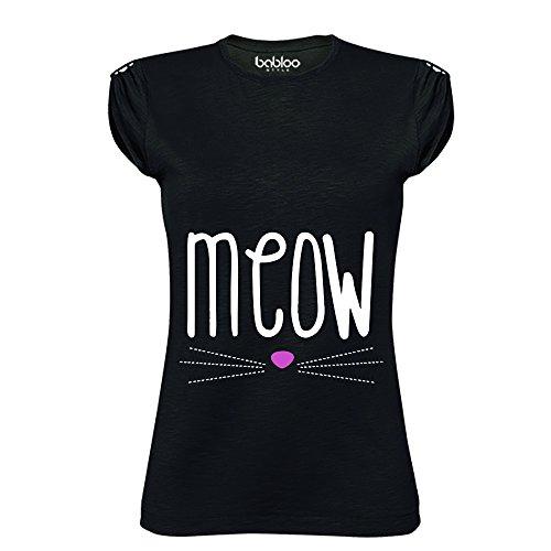 T Shirt Maglia Donna Meow Nera L Cotone Fiammato