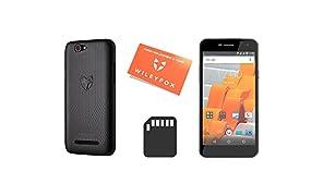 Wileyfox Spark - 5-Zoll-HD Display SIM freies Smartphone (Dual-SIM-Funktionalität 4G) mit 8-MP Kameras Android Nougat 7.0 (demnächst). - Schwarz mit Handyhülle, Ersatzbildschirm und SD card