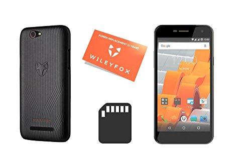 Preisvergleich Produktbild Wileyfox Spark - 5-Zoll-HD Display SIM freies Smartphone (Dual-SIM-Funktionalität 4G) mit 8-MP Kameras Android Nougat 7.0 (demnächst). - Schwarz mit Handyhülle, Ersatzbildschirm und SD card