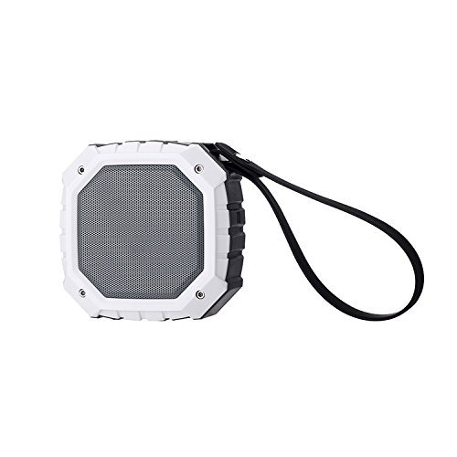 POHO Outdoor Waterproof Portable Bluetooth Speaker with FM Radio, Powerful 5W Driver with Enhanced Bass, 9 hour Playtime, for Car, Shower, Sports, Travel, Camping (Weiß)