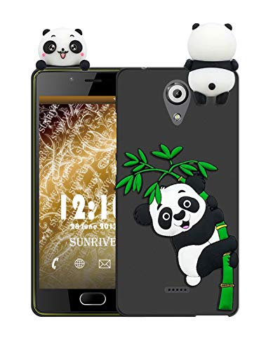 Sunrive Für Wiko U Feel Lite Hülle Silikon, Handyhülle matt Schutzhülle Etui 3D Case Backcover Tiere Muster Cover Handy Tasche Bumper(W1 Panda 2)+Gratis Universal Eingabestift