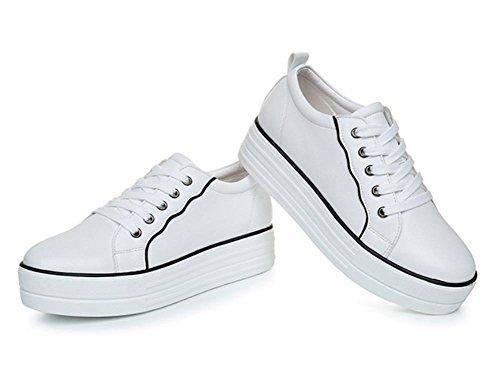 Muffin Schuhe Sportschuhe erhöhte Freizeitschuhe Dame Herbst white + black