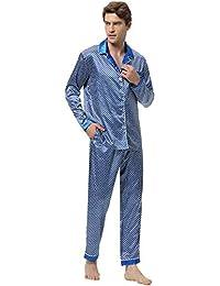 24ce375716 Aibrou Herren Satin Pyjama Set, Zweiteiliger Bedruckt Schlafanzug Langarm  Shirt…