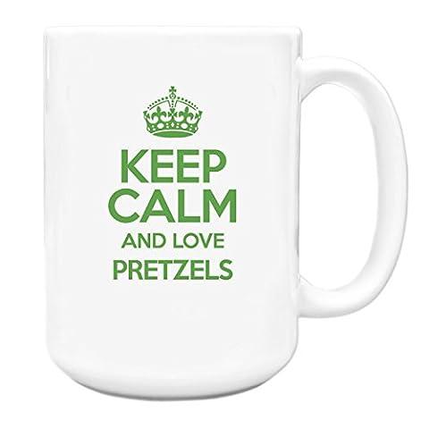 GREEN Keep Calm and Love Pretzels Big 15oz Mug TXT 2850
