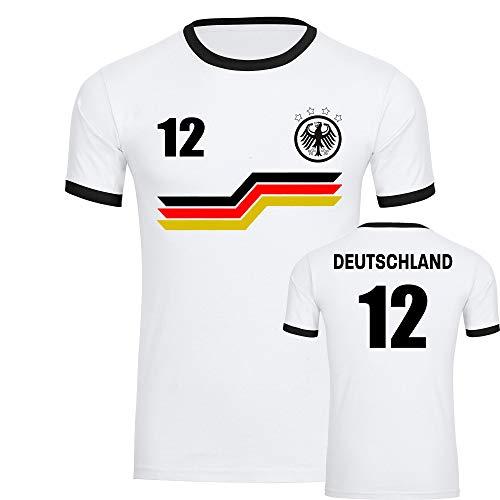 T-Shirt Deutschland Adler Trikot Bunte Balken mit Nr. 12 Herren weiß/schwarz Gr. S - 3XL - Fanshirt Fanartikel Fanshop Trikot Fußball EM WM Germany,Größe:M