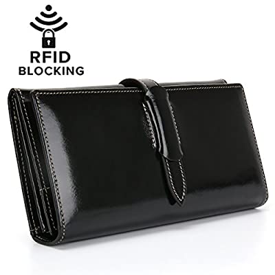 Portefeuille Femme RFID Blocage Sac À Main Long de Grande Capacité Porte-Monnaie en Cuir Véritable de Cire Élégant avec Chic Carte de Crédit et Fermeture Éclaire de Poche