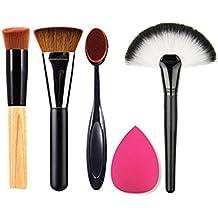 BrilliantDay Pro 4 Pcs brochas de maquillaje cosméticas Kit + 1 Esponja Fundación Puff - profesional cepillos / pinceles conjunto para Corrector Sombra de Ojos Ceja Fundación Polvo
