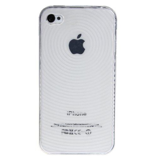 wortek® Silikon Schutzhülle geriffeltes Kreismuster extra Grip Apple iPhone 4 / 4S Schwarz TPU - Weiß /Transparent