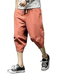 Liangzhu Hombre Harem Pantalones 3 4 Pantalon con Cordón Pantalones Casuales  Suaves Transpirables d9ed97de7cc9