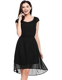 beecd521264b9 Parabler Damen Elegant Chiffonkleid Kurzarm Sommerkleid Festliches  Skaterkled Asymmetrisches Brautjungfernkleid Knielang…