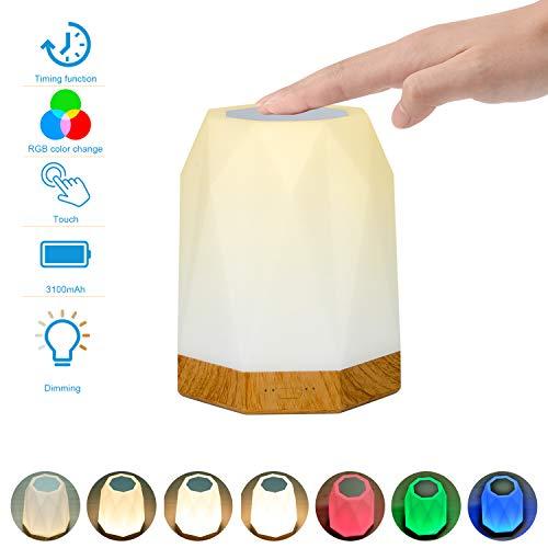 Nachtlicht Kind,UNIFUN Touch Nachttischlampe mit Timer Funktion Dimmbar Atmosphäre Tischlampe Farbwechsel Stimmungslicht RGB + 2800K-3100K Warmweiß, 256 Farbiges Licht