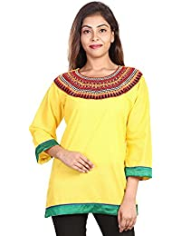Fashion Store Women's Hand Embroidered Chicken Work Cotton Cambric Kurti ( Yellow, X-Large)