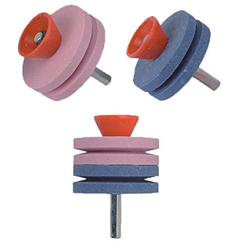 3PCS Schleifgerät für Rasenmähermesser, Rasenmäher Schärfer, Schärfscheibe Schleifscheibe für Gartenwerkzeuge/Rasenmähermesser, aus Aluminiumoxid Keramik