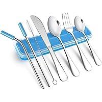AckMond 3 piezas de viaje de acero inoxidable portátil, cubiertos de camping Set (azul