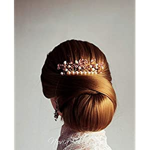 Erröten Sie Brauthaarkamm, Perlen-Kristallhochzeitszusatz