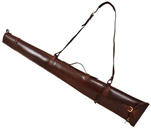 House of Luggage Echtes Leder Gewehr Tragetasche Gewehrschlupf Tasche für Schrotflinte mit Griff HLG230 Braun -