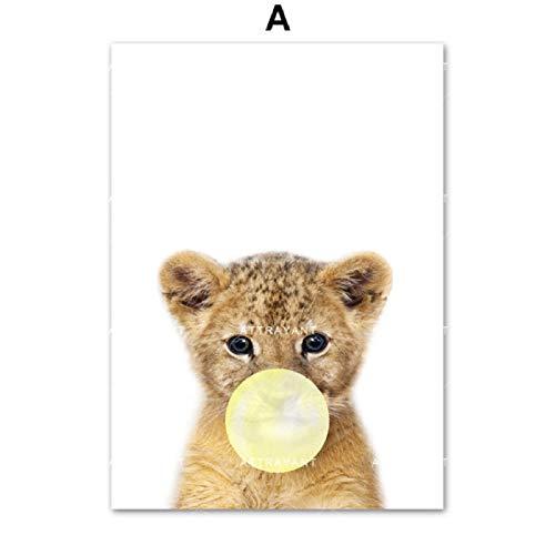 XWArtpic Löwenbär Kaninchen Koala Ente Rosa Blase Wandkunst Leinwand Malerei Nordic Poster Und Drucke Wandbilder Kinderzimmer Kinderzimmer Dekor A 60 * 80 cm - Maus-markt Minnie