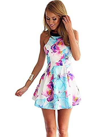 Miss Floral® Womens Backless Floral Summer Mini Sun Dress Size 6 - 14