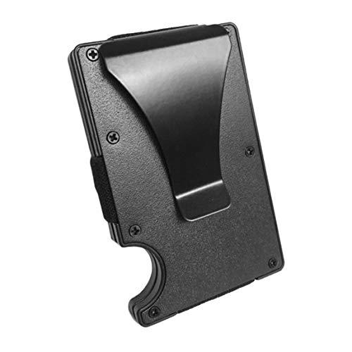 Porta carte di credito da uomo in alluminio sottile porta carte di credito in metallo portafoglio di banconote in metallo con funzione anti-scan (in colore nero)