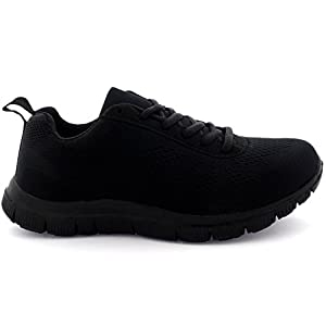 Womens Get Fit Mesh Running Trainers Athletic Walk Gym Shoes Sport Run - Black/Black - 5 - 38 - CD0047