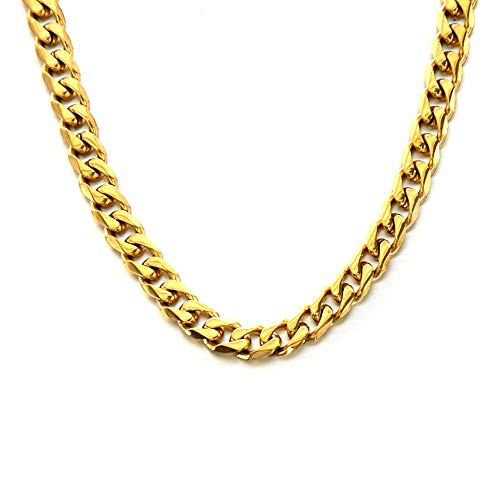 24k Plated Grooved Cuban Link Curb Chain for Men. 7mm Necklace with Impressive Polished Mirror Finish, Sturdy Steel Construction, and 316L PVD Gold Plating to Protect Color, Non-Allergenic